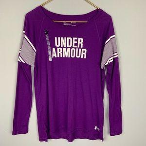 NWOT Under Armour Long Sleeve Heatgear Purple Top